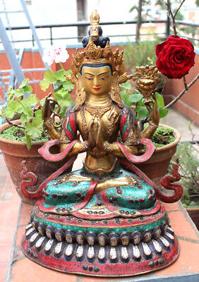 """19"""" High Chenrezig Statue Inlaid Turquoise and Stone"""