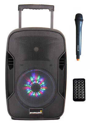 "STARAUDIO 10"" Portable 1500W Active PA Battery Power BT USB Audio Speaker W Mic"