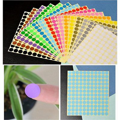 264 x 13mm Round Coloured Dots Stickers Circle Paper Label Sticky Adhesive Spot