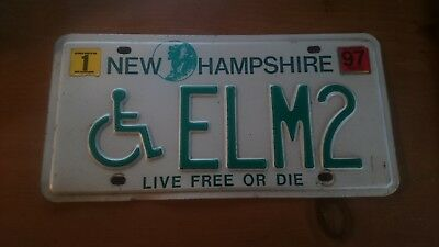 NEW HAMPSHIRE License Plate last used 1997 NH ELM2 Handicap