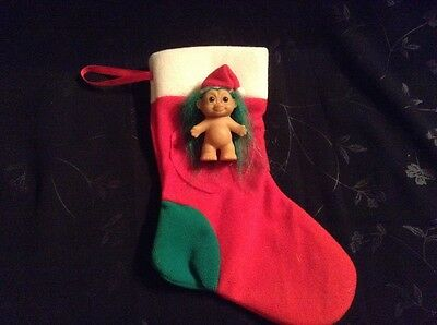 Troll with Christmas Stocking 19cm & Gorgeous Little Troll  5.5cm by RUSS