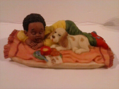 Vintage Black Americana Resin Figurine - Boy Laying on Rug, Waiting for Santa