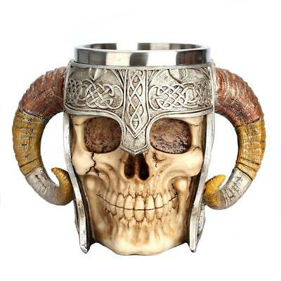 Warrior Beer Cup Viking Ram Skull Mug Helmet Battle Stein Coffee Tankard Horn