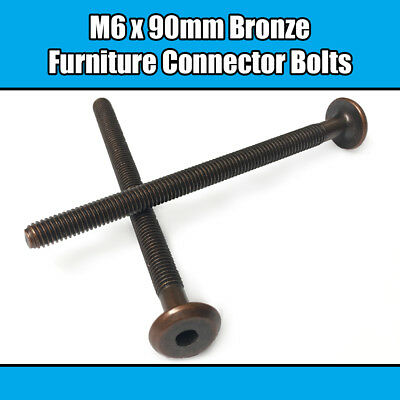 M6 x 90mm Bronze Furniture Connector Bolts Joint Fixing Bed Cot Unit Table Desk