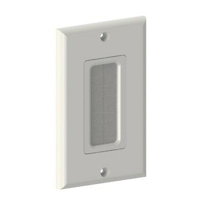 1 Single Gang Brush Wall Plate Port Insert Cover Outlet Low Voltage Cable White