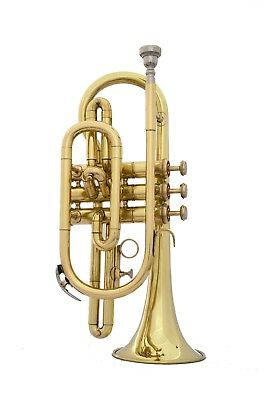 Bb FLAT CORNET TRUMPET NEW BRASS FINISH +FREE CASE+MOUTHPIECE