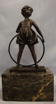 Statue Sculpture Daughter Art Deco Style Art Nouveau Style Solid bronze Signed