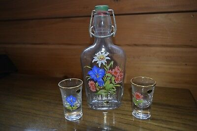 Hand Painted  Glass Bottle Flask 2 Shot Glasses Included