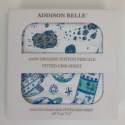 Addison Belle 100% Organic Cotton Percale Fitted Crib Sheet Outer Space Theme