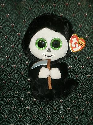 """Ty Beanie Boo * Ghost with sickle * GRIMM * 6"""" MWMT * RARE * 2015 RETIRED * HTF"""