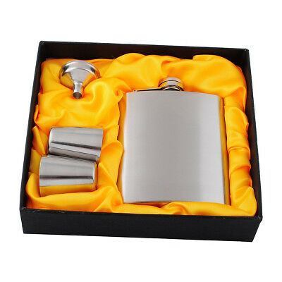 Stainless Steel 7oz Hip Flask Set with 2pcs Funnel Drinking Cups Full Kit Gift