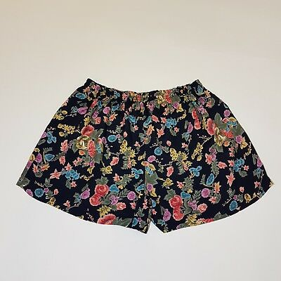 Vintage Shorts 80s Navy Floral Print Roses Summer Festival Wow! | 12 / 14