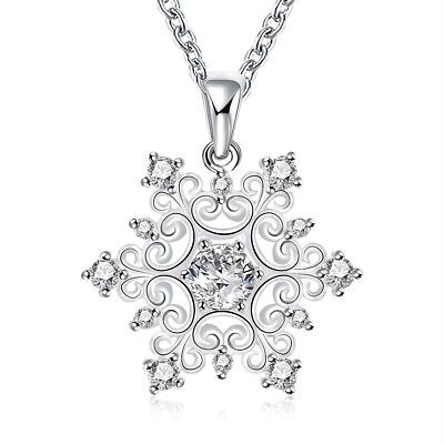 18K White Gold Plated Snowflake Necklace Made with Swarovski Crystals
