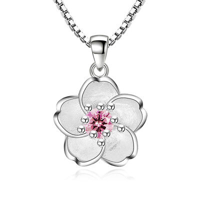 925 Sterling Silver Crystal Flower Pendant Necklace For Women Girl Jewelry