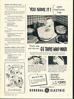 Print Ad~1952~G.E. Triple-Whip Stand Mixer~General Electric~F500