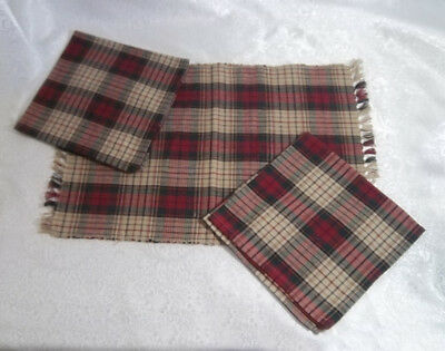 Placemats and Napkins by Park Design, BALSAM Christmas Holiday Plaid Tartan Fall