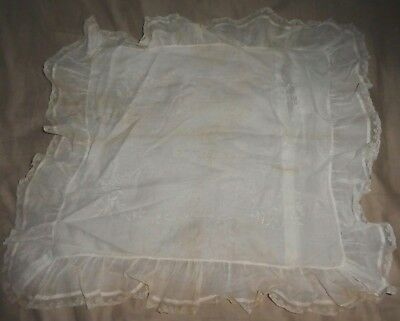 Antique French Voile Embroidered Floral Villa Champs Elysees Bridal Pillow Case
