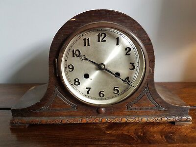 Vintage 1930's Oak Mantel Clock (Requires Attention Spares or Repair Project)
