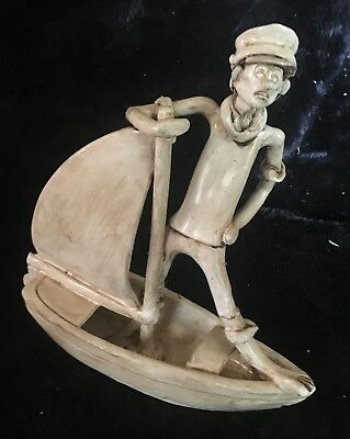 Fun Dino Bencini Italian Terracotta/Majolica Sailor on Boat Folk Art Figurine