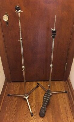 VINTAGE 60S PREMIER Flat base Straight Cymbal+HiHat Stands All orig! Work  great!