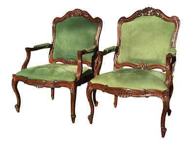 Pair of Sherrill Carved French Begeres Chairs with Ultrasuede upholstery