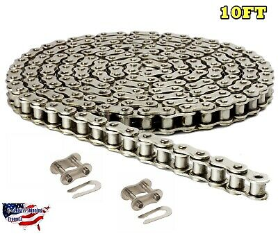 #50NP Nickel Plated Roller Chain 10 Feet with 1 Connecting Link Anti-Corrosion