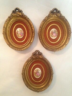 Vintage Cameo Limoges B&S Creations NY Cameo Framed Oval Picture Set