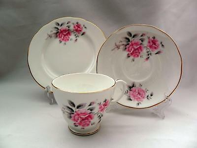 DUCHESS  English  Pink FLORAL TRIO Pattern   - Cup/Saucer-Side Plate - Excellent