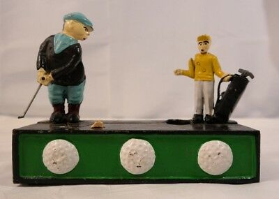 Cast Iron Mechanical Coin Money Bank Golf Caddy Birdie Hole In One Vintage AK