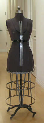 "Antique Victorian Dress Form on Ornate Iron Stand, Wood Wheels! 55""  Steampunk"