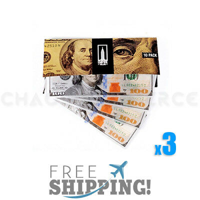 Empire $100 Dollar Bill Premium Rolling Paper Benny 3x Packet - 30 Papers Total