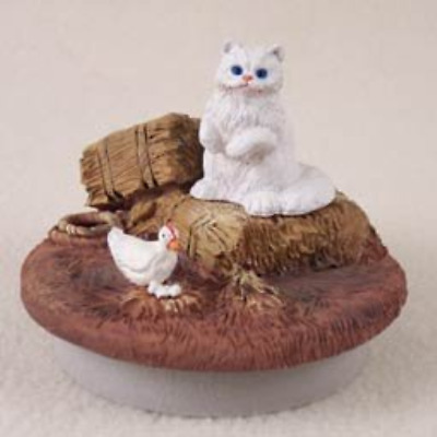 "White Persian Cat Candle Topper Tiny One ""A Day on the Farm"""