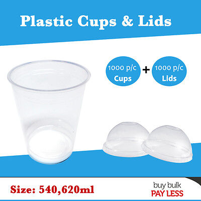 Disposable Plastic Cups 1000/Pc+1000/Pc Dome Lids 540, 620ml - Sydney Metro Only