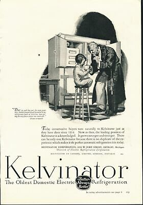 Print Ad~Vintage~1926~Kelvinator Electric Refrigeration~Illustration~Grandp~F600