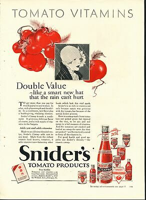 Print Ad~Vintage~1926~Snider's Tomato Products~Color~Catsup~F600
