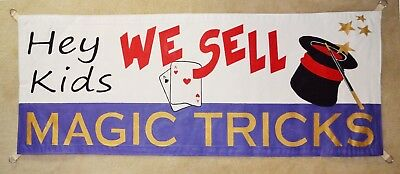 Magic Show Trick Banner Sign Circus Houdini Hand Painted Magician Carnival
