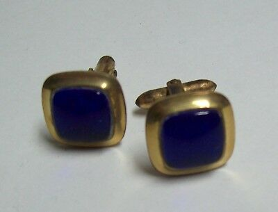 Vintage Cufflinks - Goldtone & Royal Blue Squares