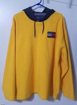 Vintage 90s Tommy Hilfiger Yellow Fleece Pullover L Large Tommy Jeans Jacket