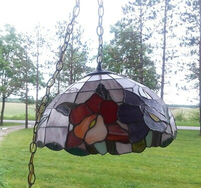 🥀Vintage Tiffany Style Multi Color Stained Glass Flowers Hanging Light Lamp 16""