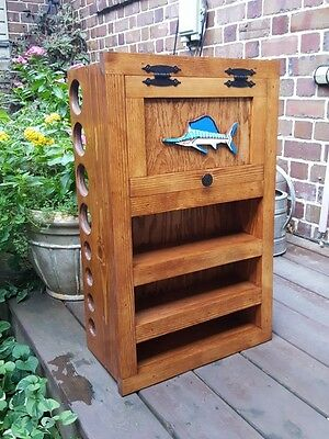 FLY ROD & REEL STORAGE CABINET pick stain & fish Fly Fishing SALTWATER FISH