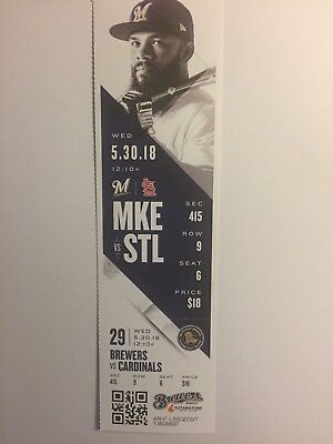 Milwaukee Brewers Vs St Louis Cardinals May 30, 2018 Ticket Stub