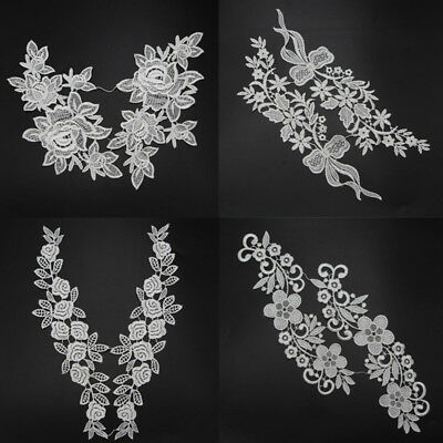 Venise Motif 1 Pair Floral Polyester Lace Trims DIY Sewing Craft Off White/Black