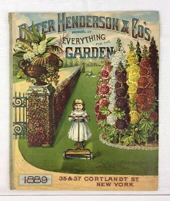 1889 Garden Catalog Cover Peter Henderson NY Child Hollyhocks Chromolithograph