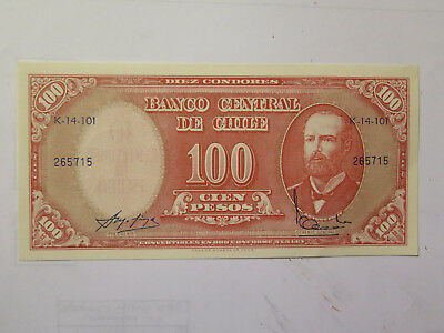 CHILE CENTRAL BANK NOTE 100 PESOS in UNCIRCULATED CONDITION c1980s