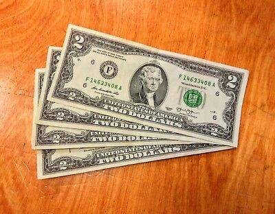 $2 Bills - Two Dollar Federal Reserve Notes - Circulated But Crispy!