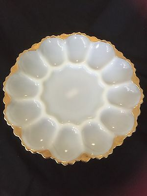 Anchor Hocking Devilled Egg Or Oyster Plate - White With Gold Rim - Vg Cond.