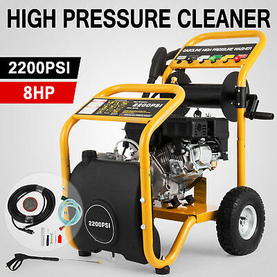 Cleaner 8 HP 2200 PSI High Pressure Washer Petrol Water Hose Gurney Pump