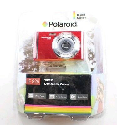 "NEW Polaroid iE 826 Digital Camera Red 18 MP Optical 8X Zoom 2.4"" Preview Screen"