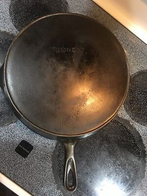"""Antique Cast Iron Number 12 Skillet With Heat Ring Marked """" Sidney """""""