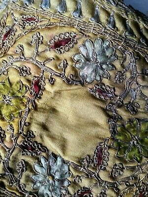 Antique Embroidery Silk Metal Crewel Work Sewn 1700s 1800s Century Old French